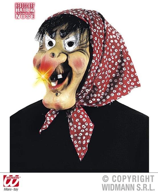 Maske ,Alte Hexe mit leuchtender Nase,