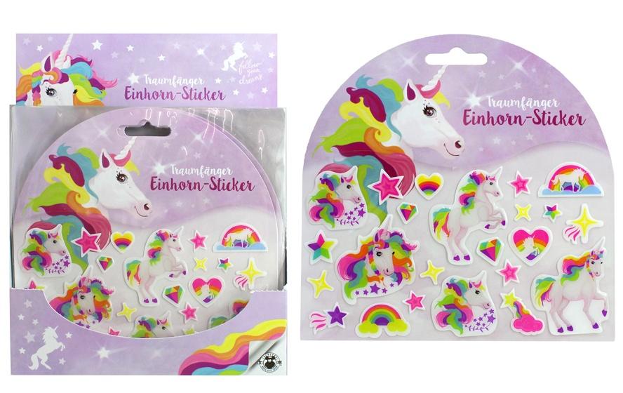 Sticker Einhorn 23 Sticker auf Karte ca 15x15cm