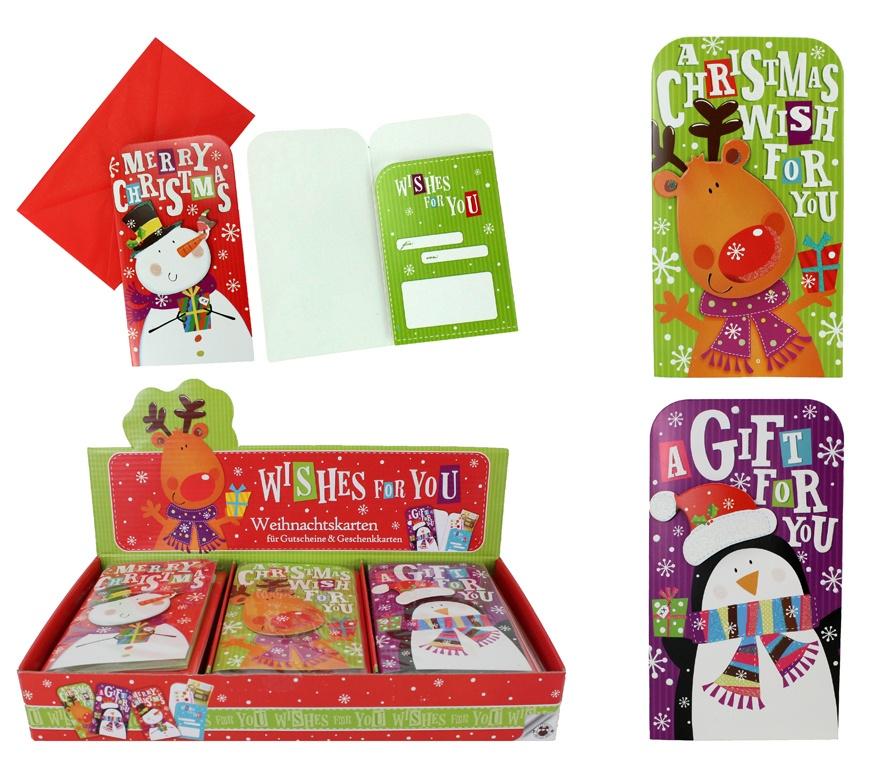 Weihnachtskarte für Gutscheine & Geschenke - ca 16x9cm