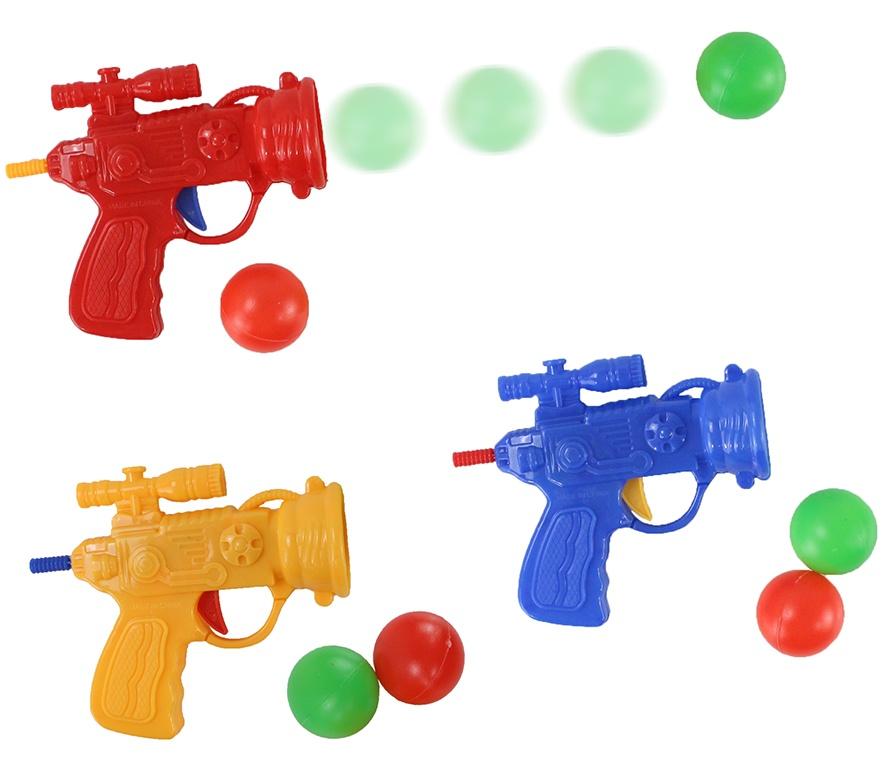 Ballpistole mit 2 Bällen, 3-fach sortiert, im Beutel, 10x8cm