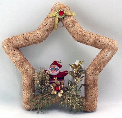 Stern mit Weihnachtsmann als Türdeko ca 23x24 cm