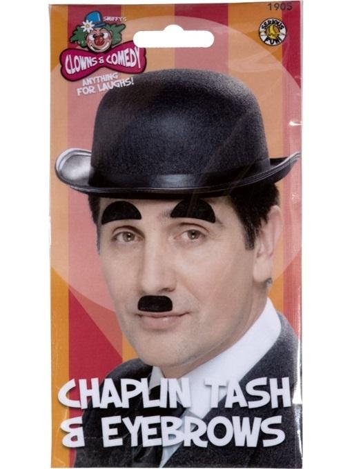 Chaplin Bart und Augenbrauen an Karte ca 19x10,5cm