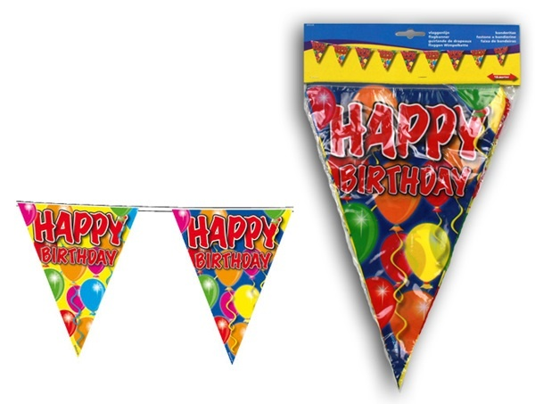 Wimpelkette Ballons Happy Birthday - ca 10m