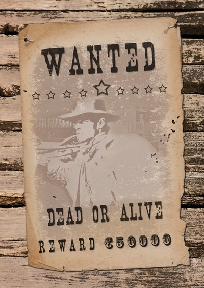 Wanddekoration - Wanted dead or alive - ca 42x30cm