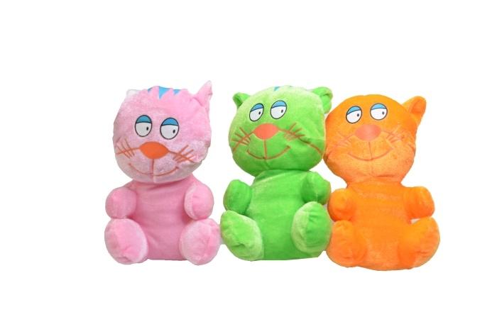 Plüsch Katze 3-farbig sortiert ca 17cm