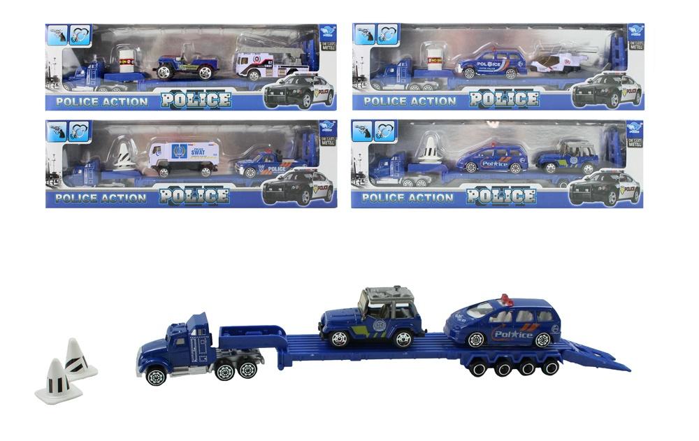Polizei-Truck METALL 4-fach sortiert in Box ca 31x9,5x4,5cm