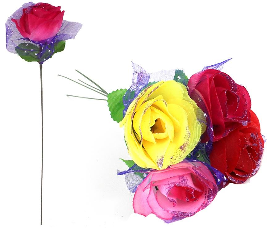 Rose mit pinkem Glitzer 4-farbig sortiert - ca 31cm