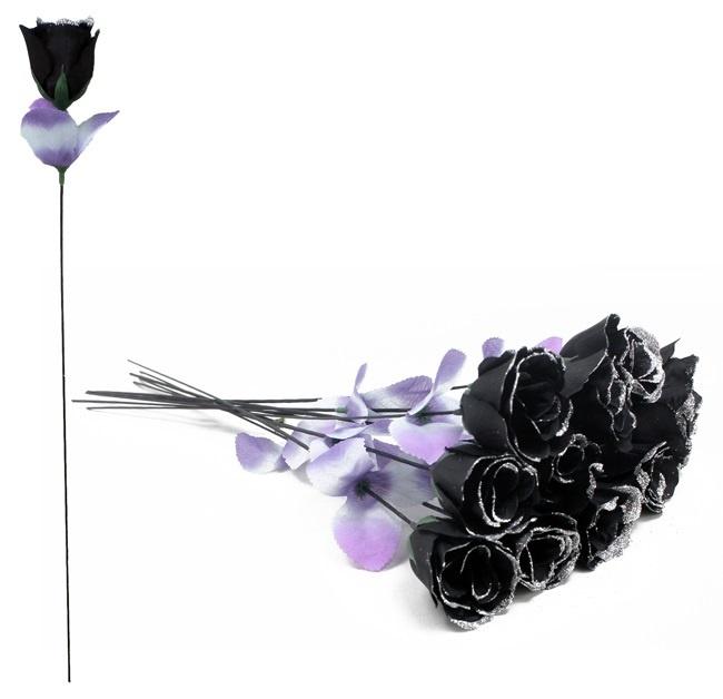 Rose - Rosenknospe schwarz mit Glitzer - ca 50cm