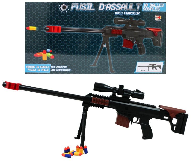 Gewehr mit Zweibein und 10 Patronen ca 70 cm