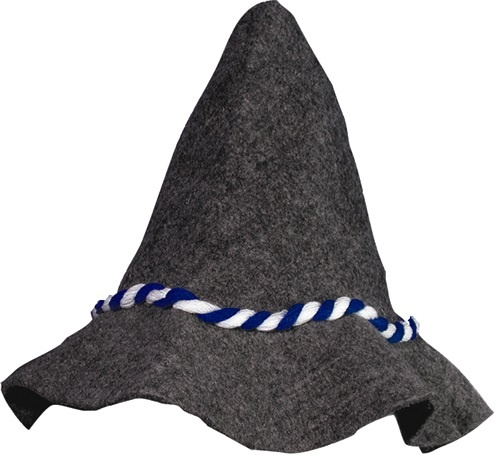 Seppel Hut grau mit blau-weißer Kordel