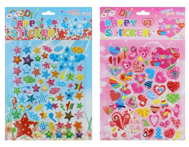 Sticker 3D Herzen und Sternchen sortiert auf Karte ca33x22cm