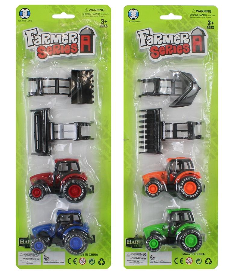 Traktorset 4 teilig 2-fach sortiert auf Karte ca 36,5x13,5cm