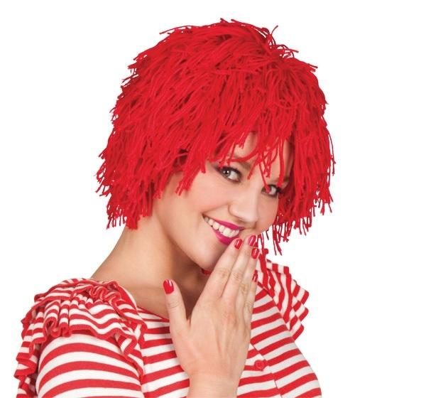 Perücke - Fuzz Garnperücke Clown rot