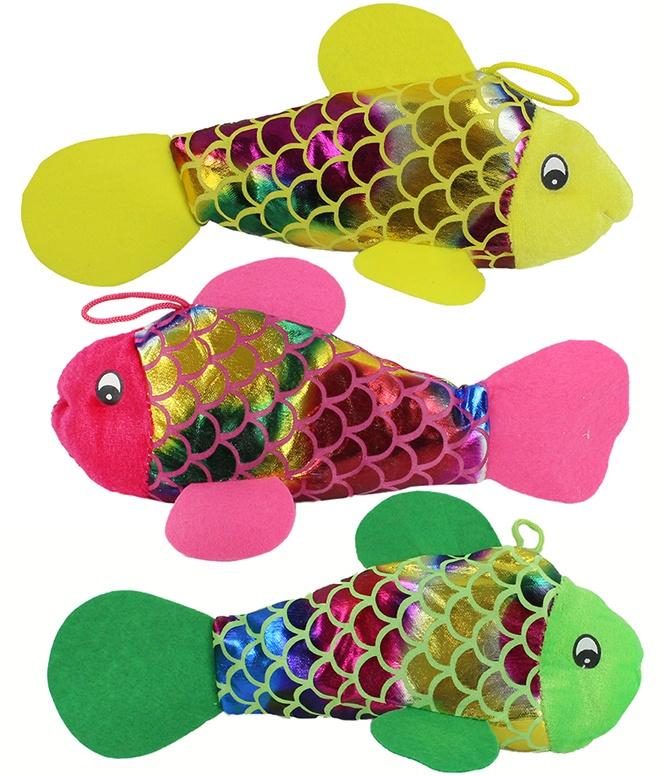 Plüsch Fisch glitzernd 3 Farben ca 26 cm