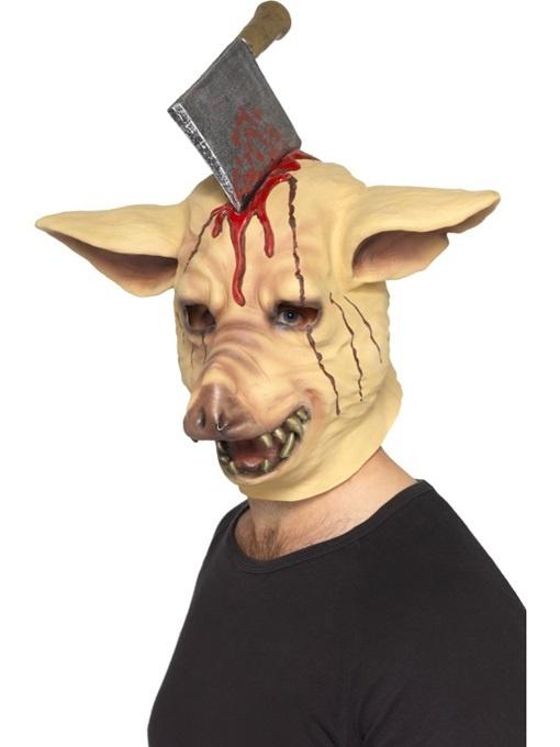 Maske Schwein mit Axt im Kopf
