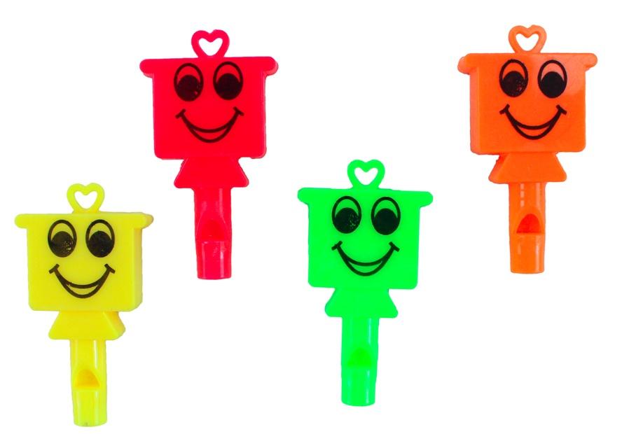Flöte mit Gesicht 4 Farben sortiert ca 5 cm
