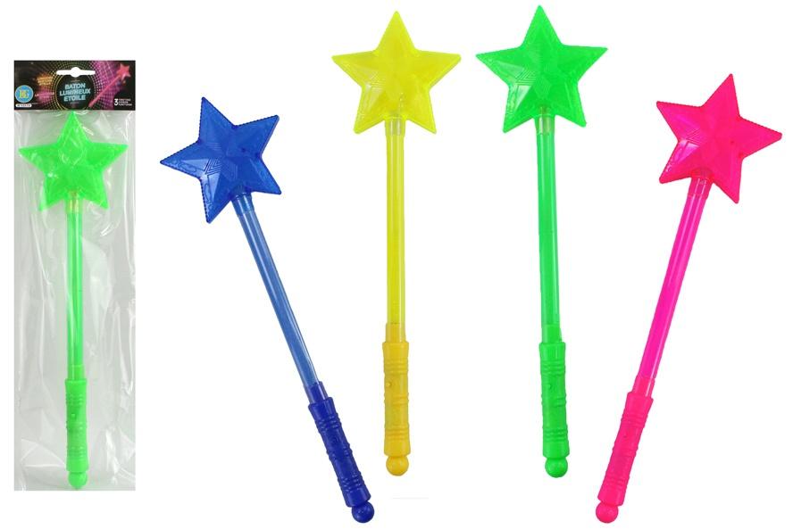 Leuchtstab Stern 4-fach farbig sortiert ca 35 cm