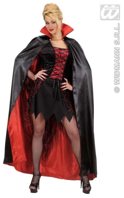 Kostüm - Cape satin rot/schwarz ca 158cm