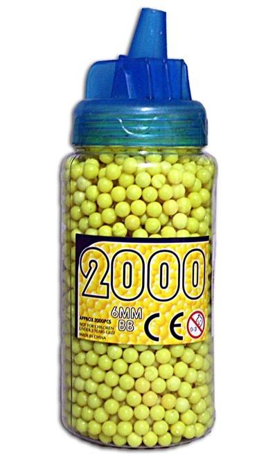 Kugelmunition 2000er gelb in Flasche ca 17x6 cm