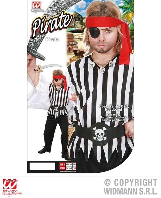 Kostüm Pirat (Coat, Hose, Gürtel, Stirnband) Größe 128