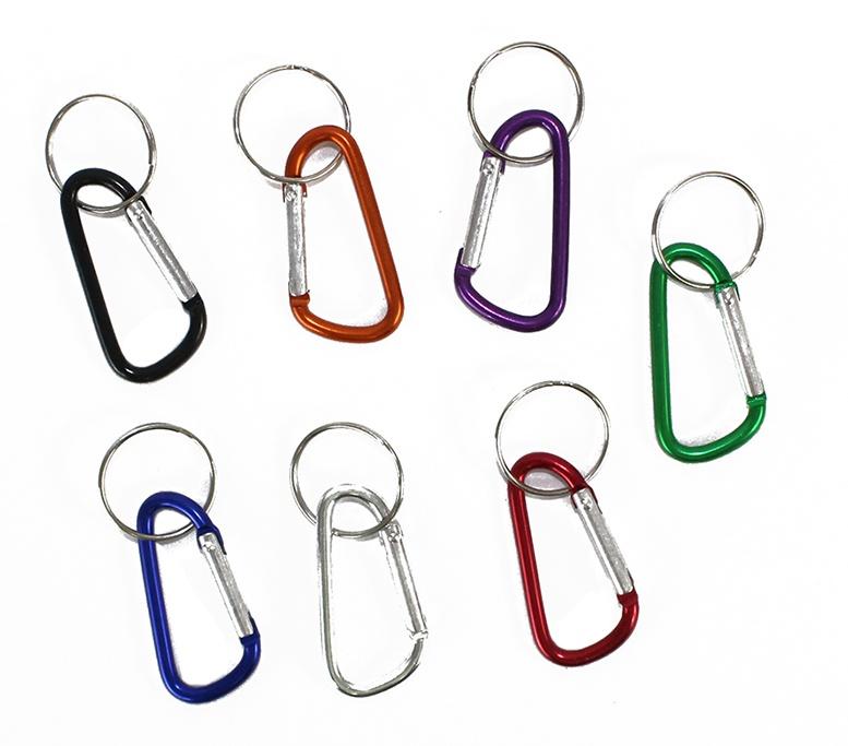 Karabinerhaken 7-farbig sortiert mit Schlüsselring ca 6,5cm
