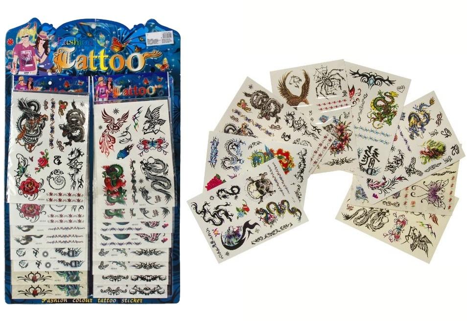 Tattoos auf Karte 8-fach sortiert - ca 19x13,5cm