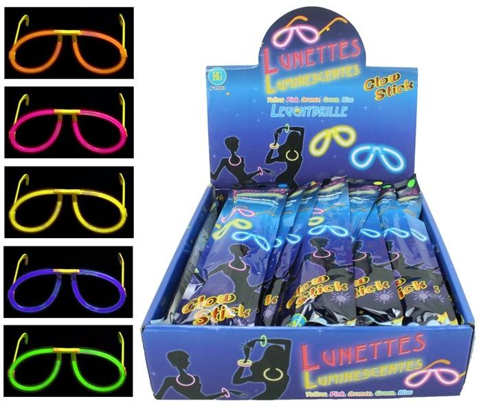 Leucht Knicklicht Brille 5-fach sortiert im Beutel ca 27,5x6