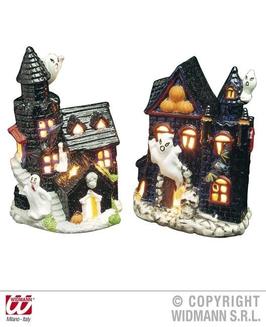 Teelichthalter spuckendes Schloss 2-fach sortiert 10,5x13 cm