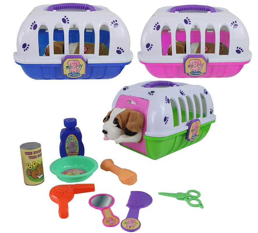 Hundebox 3-farbig sortiert mit bellendem Hund und Zubehör