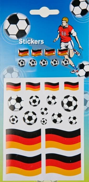 Fußball- und Fahnenaufkleber Deutschland, auf Karte