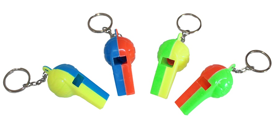 Fußballpfeifen an Schlüsselanhänger  4 Farben sortiert