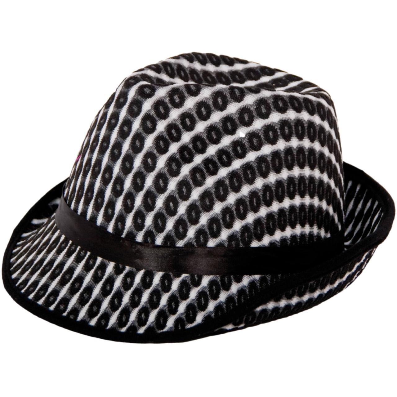 Hut Trilby schwarz weiß für Erwachsene