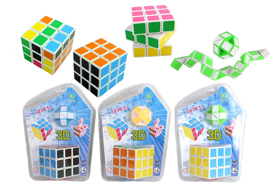 Puzzlewürfel ca 5,7 cm und Ball im Blister ca 19,5x14,5cm