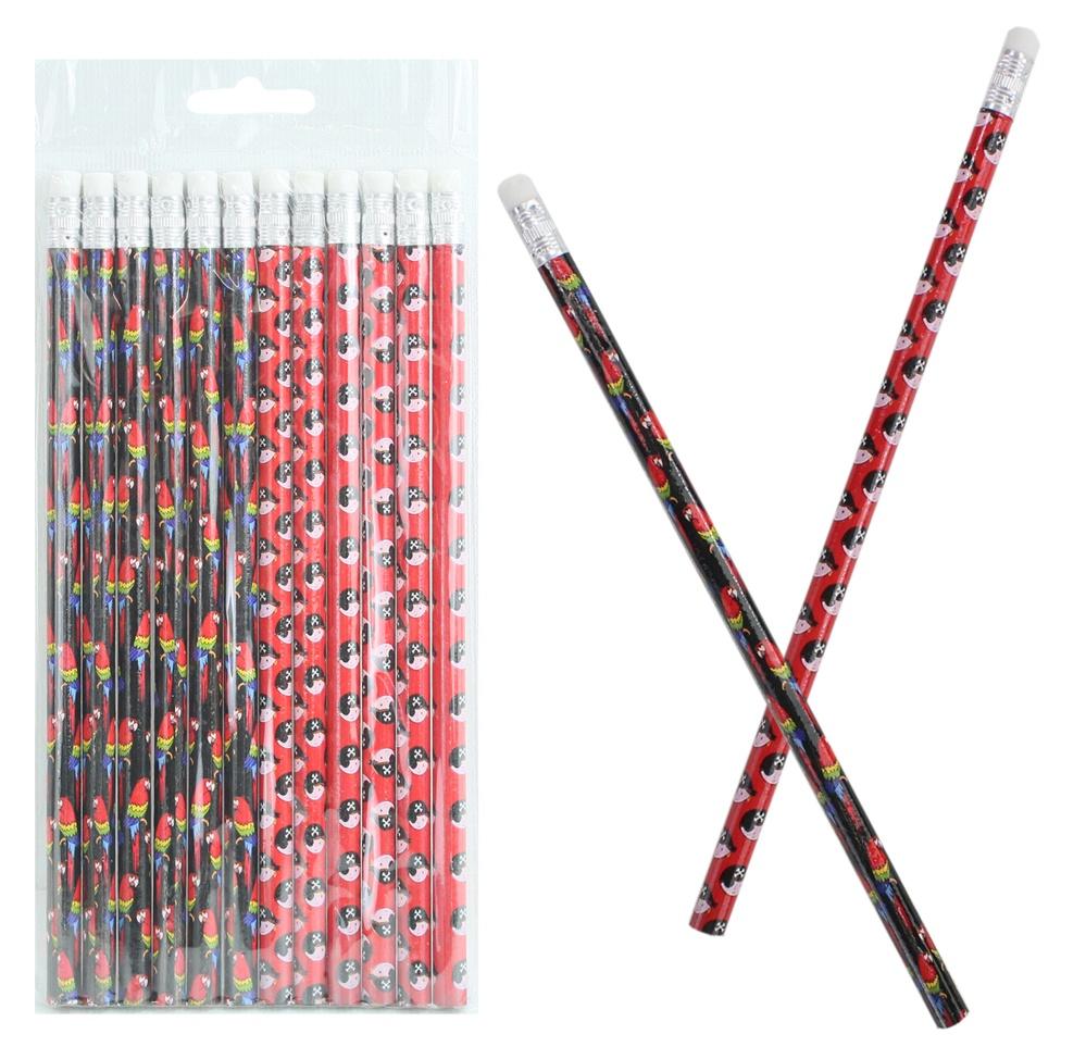 Bleistift Pirat mit Radiergummi  2-fach sortiert ca 19 cm
