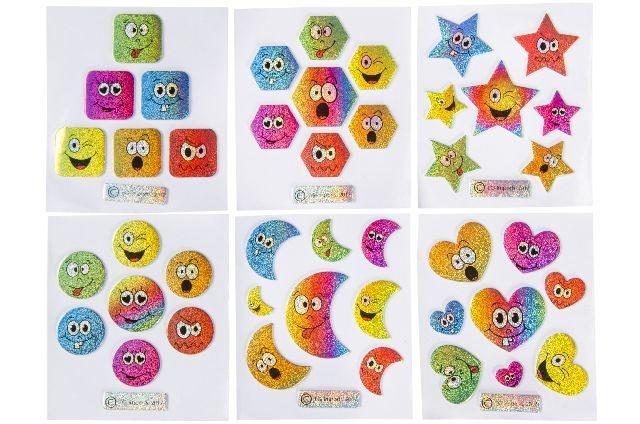 Sticker Emoticon 6 fach sortiert - Bogen ca 8x7cm