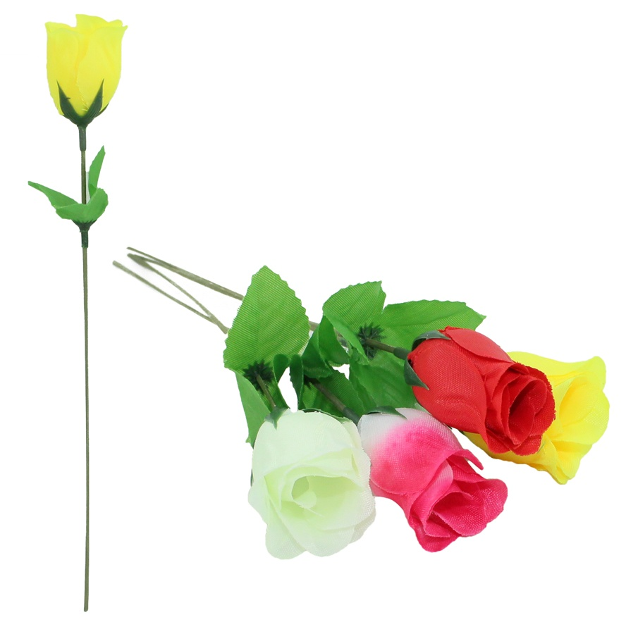 Seidenrose Knospe 4 Farben sortiert ca 30 cm