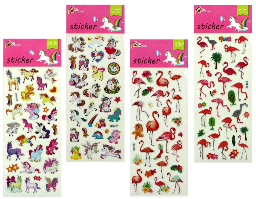 Sticker Flamingo+Einhorn  sortiert an Karte ca 30x11cm