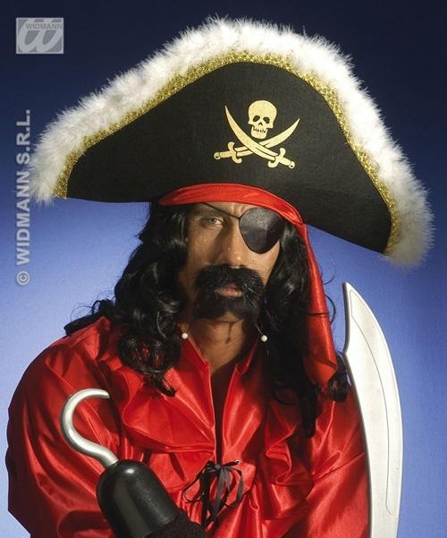 Bart - Pirat mit Perlen - schwarz - auf Karte ca 18x23,5cm