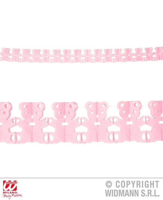 Girlande Teddybär rosa ca 300 cm