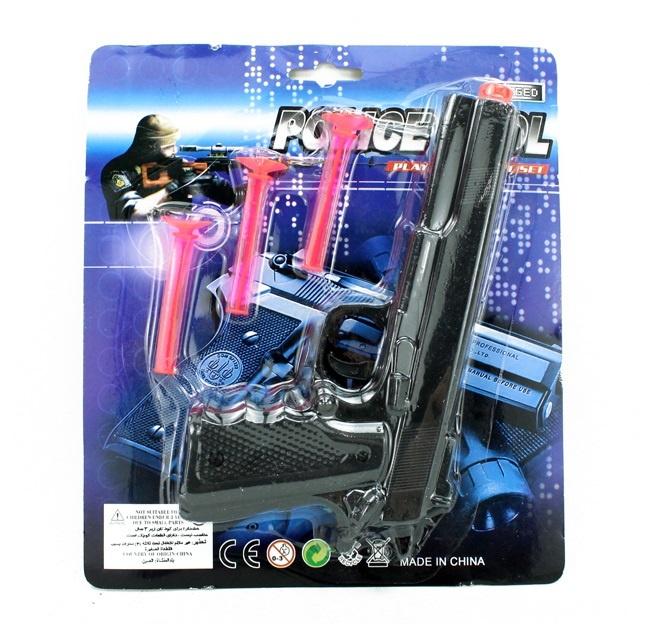 Pistole mit 3 Pfeilen auf Karte ca 21,5x19cm