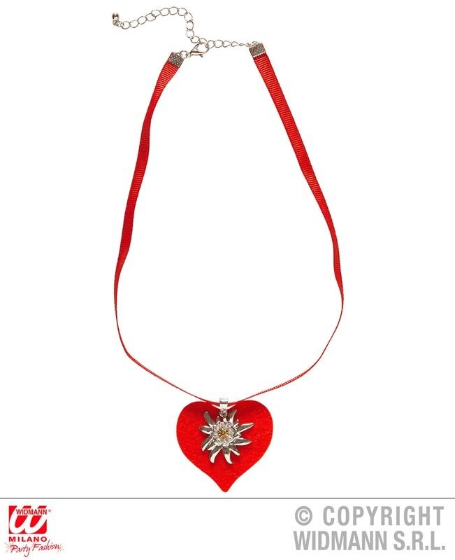 Halskette Band mit rotem Herz und Strass Edelweiß