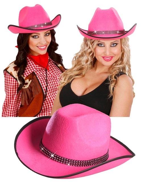 Hut - Cowboyhut mit Straßband - pink