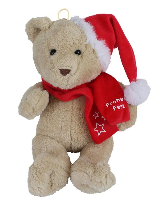 Weihnachtsbär mit Schal ,Frohes Fest, ca 35 cm