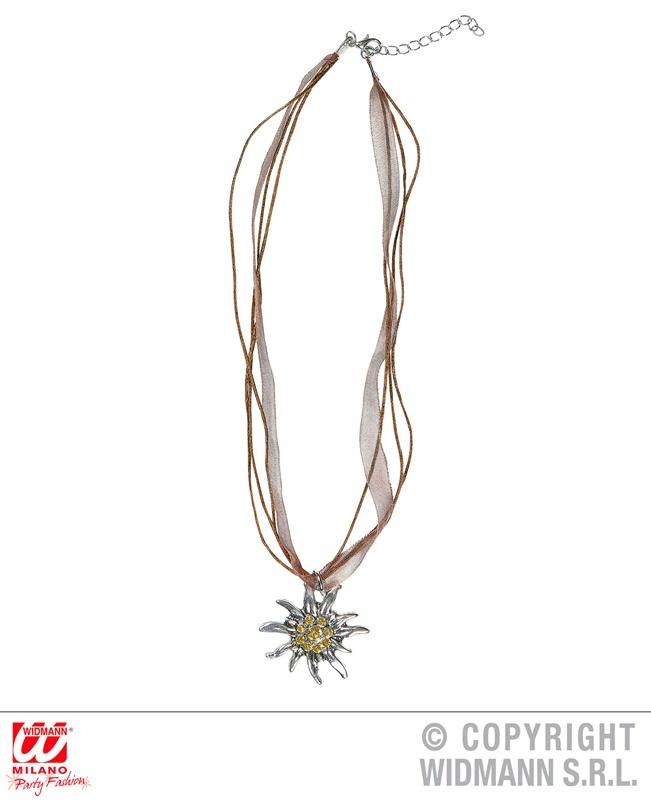 Halskette Strass Edelweiss Umfang ca 42-45 cm