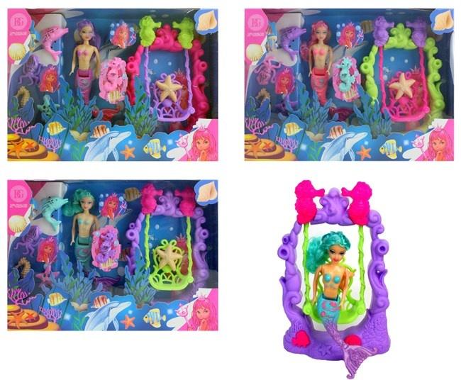 Puppe Meerjungfrau mit Zubehör in Box ca 30x22x5cm