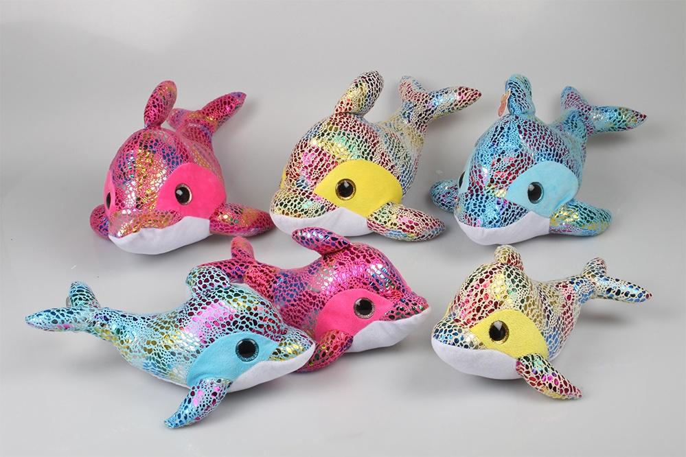 Delfin Glitzerplüsch 3-farbig sortiert - ca 32cm