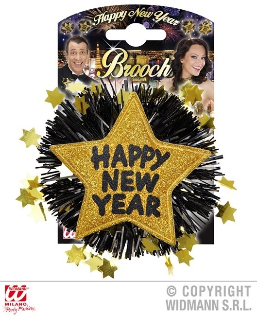 Brosche HAPPY NEW YEAR gold - ca 12 x 12 cm
