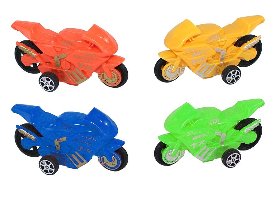 Motorrad mit Rückzug, 4 farbig sortiert im Beutel ca 8,5 cm