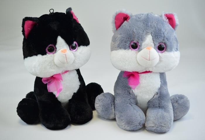 Katze 2-farbig sortiert mit Glitzeraugen ca 43cm