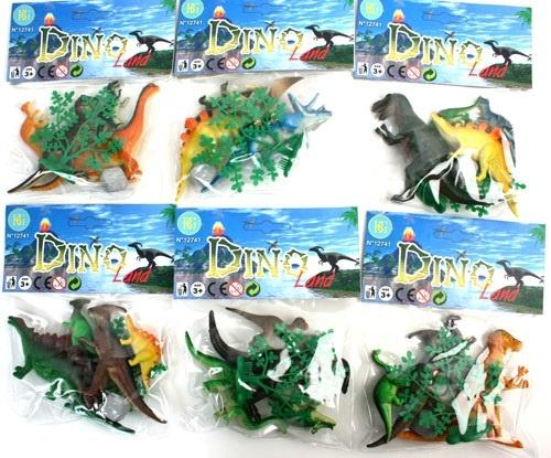 Dinosaurierset mit Zubehör 6tlg mehrfach sort. ca 6-11cm